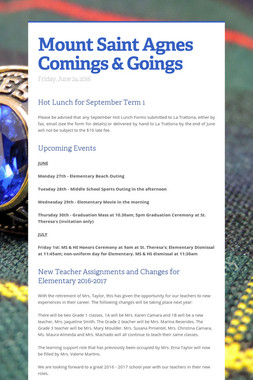 Mount Saint Agnes Comings & Goings
