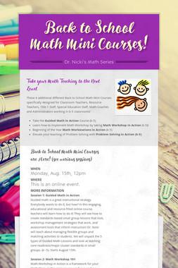 Back to School Math Mini Courses!