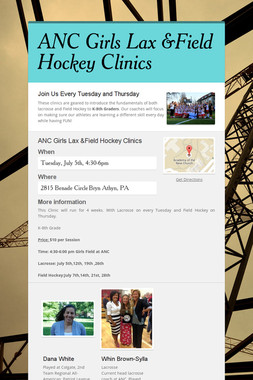 ANC Girls Lax &Field Hockey Clinics