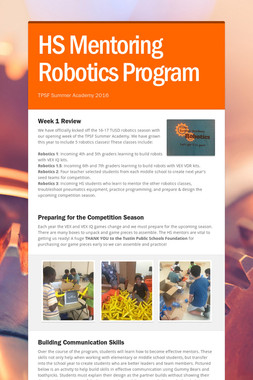 HS Mentoring Robotics Program