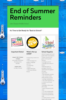 End of Summer Reminders