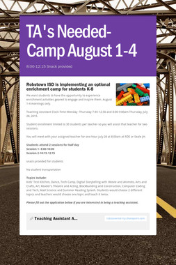 TA's Needed- Camp August 1-4