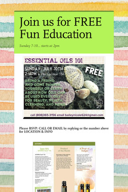 Join us for FREE Fun Education