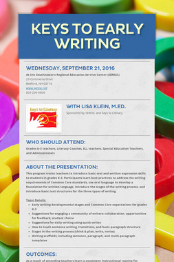 Keys to Early Writing