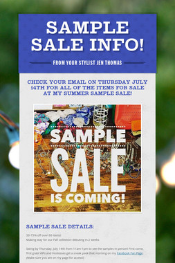 Sample Sale Info!