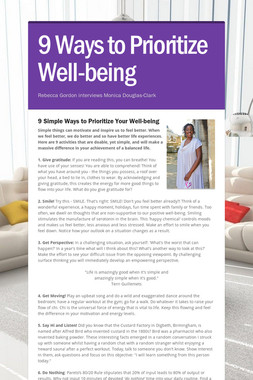 9 Ways to Prioritize Well-being