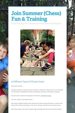 Join Summer (Chess) Fun & Training