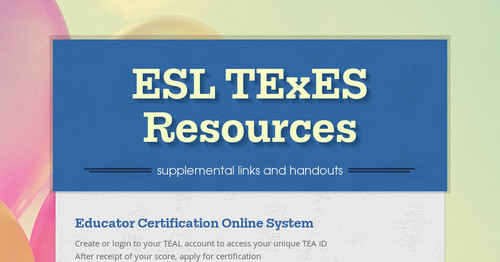 ESL TExES Resources | Smore Newsletters for Education