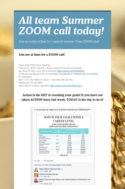 All team Summer ZOOM call today!