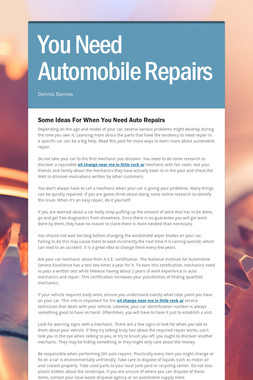 You Need Automobile Repairs