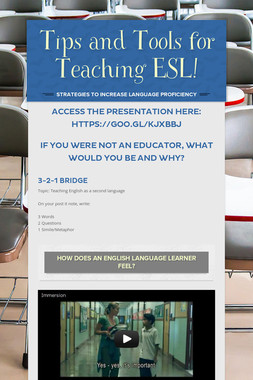 Tips and Tools for Teaching ESL!