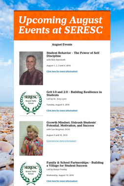 Upcoming August Events at SERESC