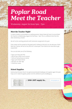 Poplar Road      Meet the Teacher