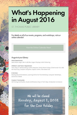 What's Happening in August 2016