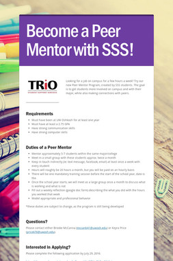 Become a Peer Mentor with SSS!