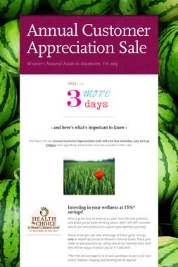 Annual Customer Appreciation Sale