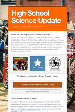 High School Science Update