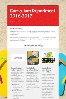 Curriculum Department     2016-2017