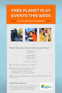 Free Planet Play Events This Week