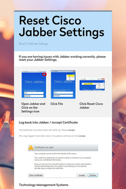Reset Cisco Jabber Settings