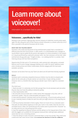 Learn more about voiceover!