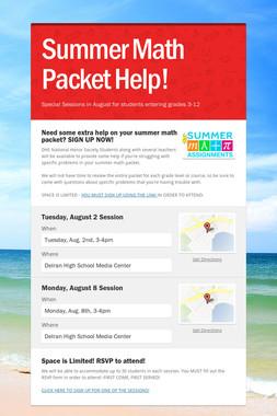 Summer Math Packet Help!
