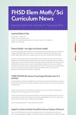 FHSD Elem Math/Sci Curriculum News