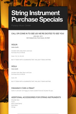 String Instrument Purchase Specials
