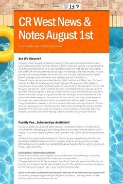 CR West News & Notes August 1st