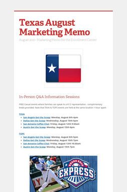 Texas August Marketing Memo