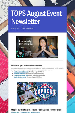 TOPS August Event Newsletter