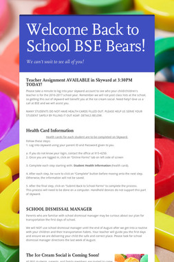 Welcome Back to School BSE Bears!