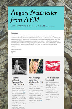 August Newsletter from AYM