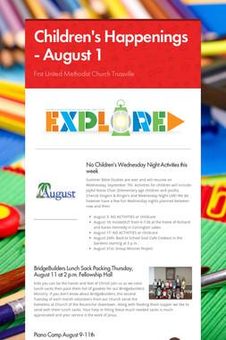 Children's Happenings - August 1
