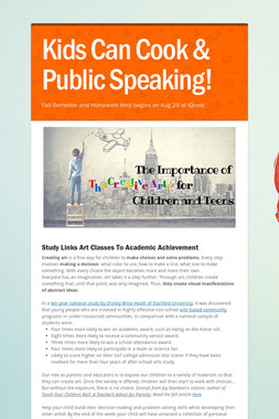 Kids Can Cook & Public Speaking!