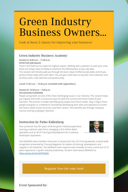 Green Industry Business Owners...