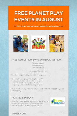 Free Planet Play Events in August
