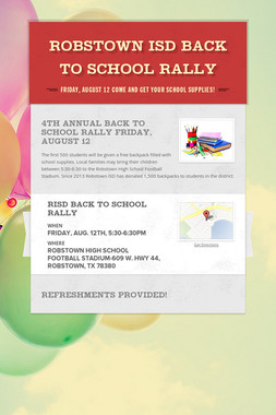 Robstown ISD Back to School Rally