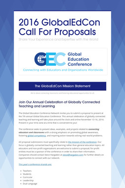 2016 GlobalEdCon Call For Proposals