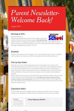 Parent Newsletter-Welcome Back!