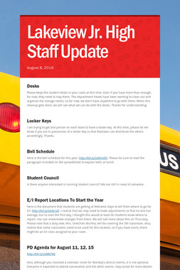 Lakeview Jr. High Staff Update