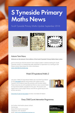 S Tyneside Primary Maths News