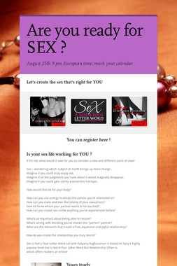 Are you ready for SEX ?