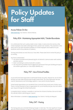 Policy Updates for Staff