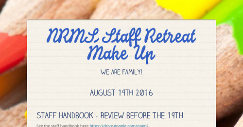 NRMS Staff Retreat Make Up | Smore Newsletters for Education