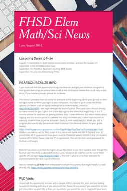 FHSD Elem Math/Sci News