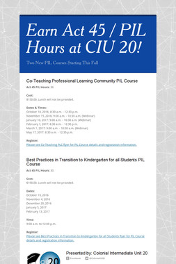 Earn Act 45 / PIL Hours at CIU 20!