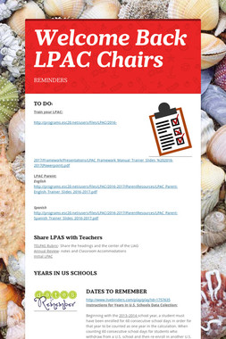 Welcome Back LPAC Chairs