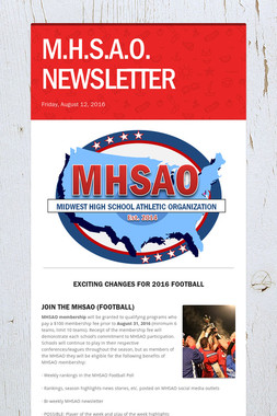M.H.S.A.O. NEWSLETTER