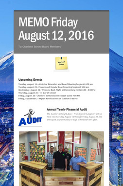 MEMO     Friday August 12, 2016